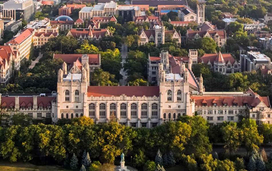 aerial campus view UChicago